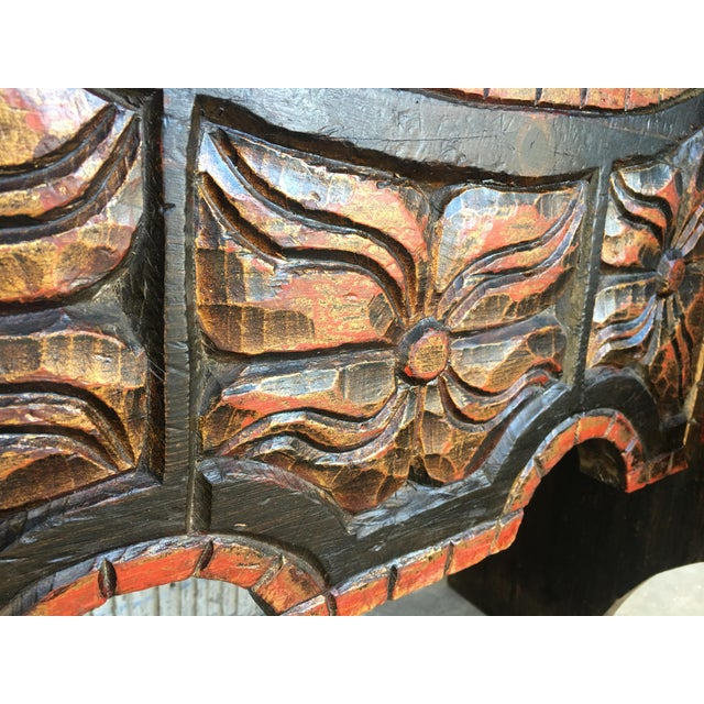 20th Century Carved and Polichromed Cabinet Bar on Stand Varqueno, Buffet, Spain For Sale - Image 12 of 13