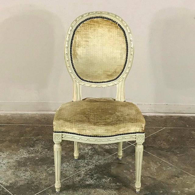 Early 20th Century Set of 6 Antique French Painted Louis XVI Chairs For Sale - Image 5 of 13