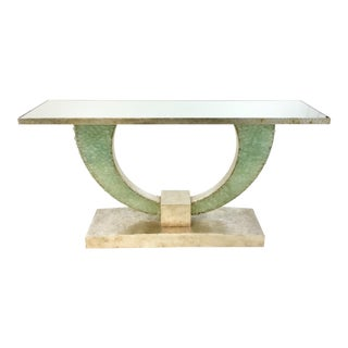 Currey & Co. Modern Green Sa Glass Console Table Prototype For Sale