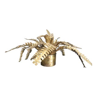 Mid-Century Brass Fern Sculpture in the Style of Maison Jansen and C. Jeré For Sale
