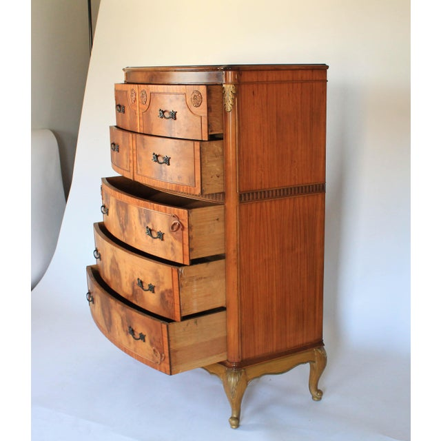 French Provincial Louis XV Burlwood Bow Front Tall Dresser For Sale - Image 3 of 13