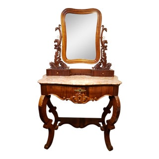 Late 19th Century English Victorian Mahogany Marble Top Dressing Table For Sale