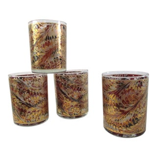 Gold Feather Lowball Glasses - Set of 4 For Sale