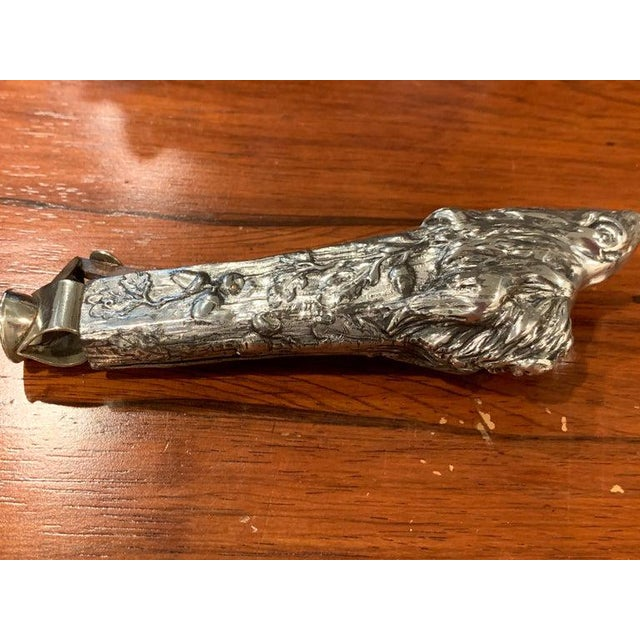 Traditional Antique Austrian Silver Plated Wild Boar Motif Cigar Cutter For Sale - Image 3 of 12