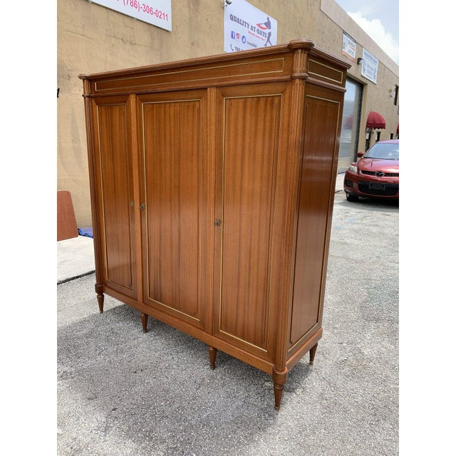1910s French Louis XVI Antique Mahogany Armoire For Sale - Image 4 of 13
