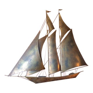 Large Sailboat Wall Sculpture by Y Wiley For Sale