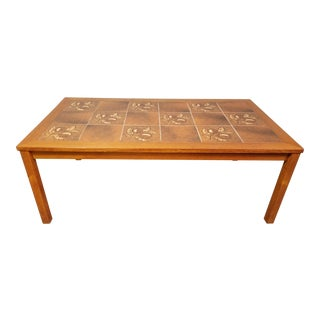 Danish Modern Tile Top Coffee Table For Sale