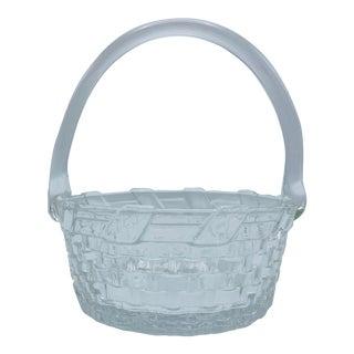 1970s Vintage Glass Basket Weave Bowl For Sale