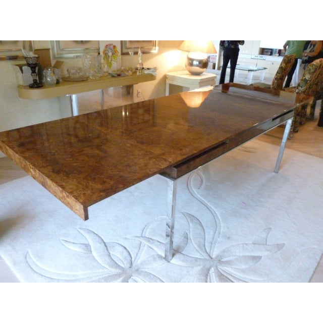 1970's Vintage Milo Baughman Style Burl-wood & Chrome Dining Table For Sale - Image 11 of 13
