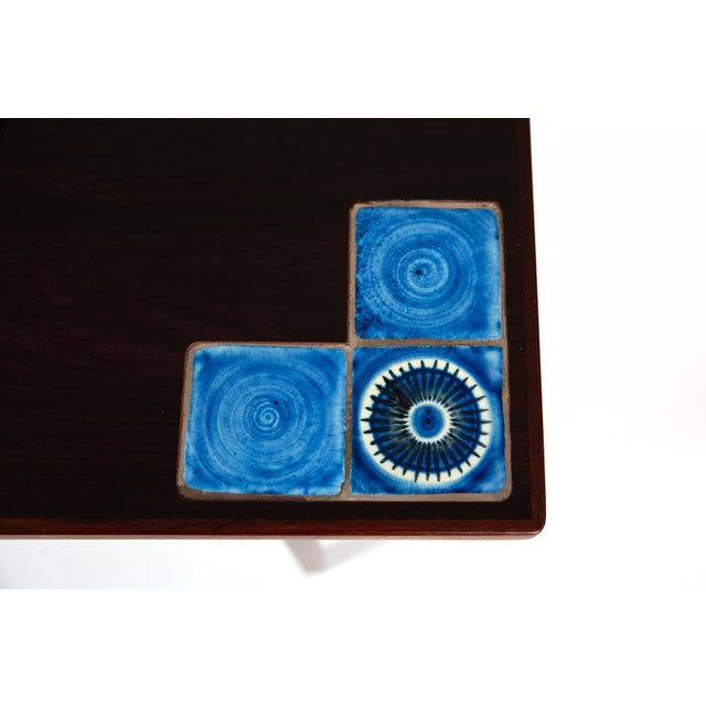 Danish Modern Illums Bolighus Rosewood and Blue Tile Folding Table For Sale In Phoenix - Image 6 of 7
