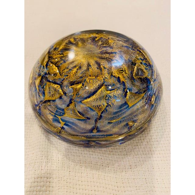 Mid-Century Modern Blue and Gold Swirl Ashtray Bowl For Sale In Columbus - Image 6 of 8