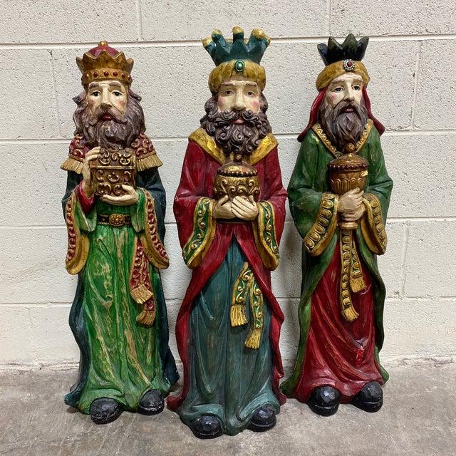 Large Vintage Resin 3 Wisemen Kings For Sale - Image 13 of 13