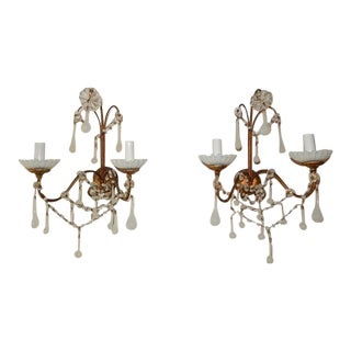 French White Opaline Beads Beaded Sconces, circa 1920 For Sale