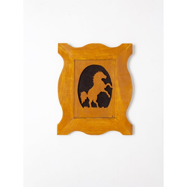 Vintage Wood Silhouette Horse Art For Sale - Image 4 of 6