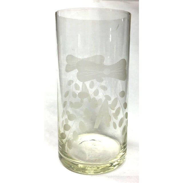 Very unusual vase with the interesting frosted etched design and small little stars on each side. The design is the same...