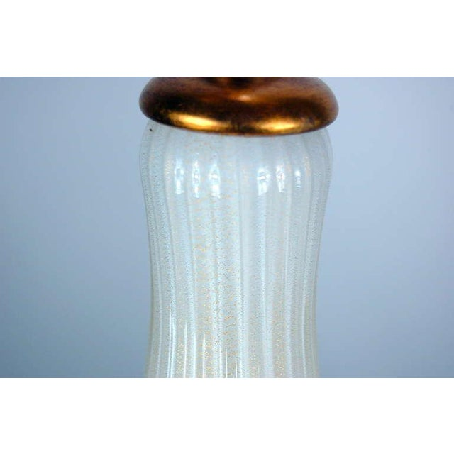 Gold Marbro Murano Glass Table Lamps White Gold Flowers For Sale - Image 8 of 10