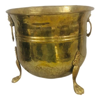 Brass Flower Pot With Lions Head Handles and Paw Feet For Sale