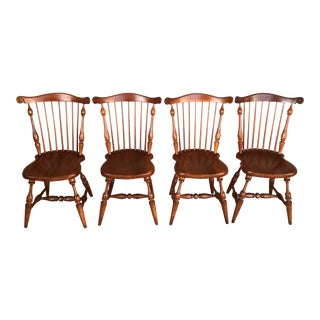 Frederick Duckloe Solid Cherry Windsor Side Chairs - Set of 4 For Sale