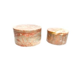 Vintage Pakistani Pale Pink Marble Stone Lidded Jars - a Pair
