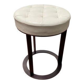 """Contemporary American Leather Ivory Leather Upholstered With Bronze Base """"Tatum"""" 14"""" Ottoman For Sale"""
