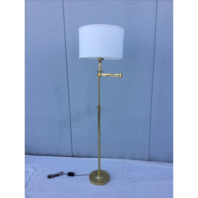Vintage 1970s English Modern Brass Floor Lamp - Image 3 of 11
