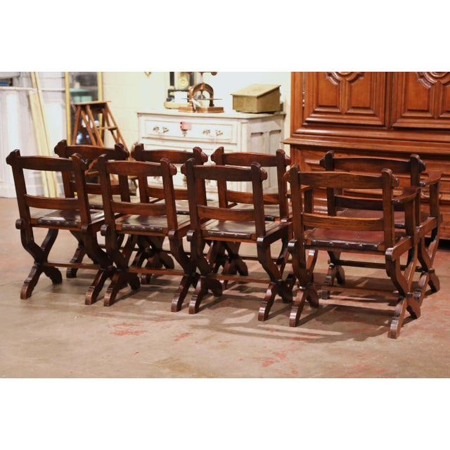 Brown Spanish Carved Oak and Leather Dining Chairs, Set of 6 Side Chairs 2 Armchairs For Sale - Image 8 of 9