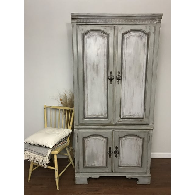Distressed Shabby Chic Armoire - Image 4 of 11