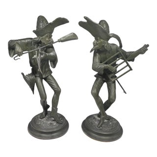 Unusual 19th Century French Grotesque Spelter Candlesticks For Sale