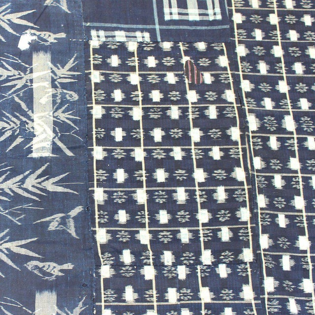 Blue Antique Kasuri Japanese Boro Blanket/Cloth For Sale - Image 8 of 10