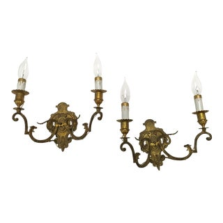 Early 1900s French Brass Double Candle Wall Sconces - A Pair For Sale