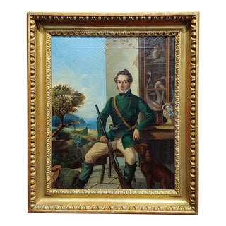 Portrait of a Hunter W/His Dog-19th Century Italian School-Oil Painting For Sale