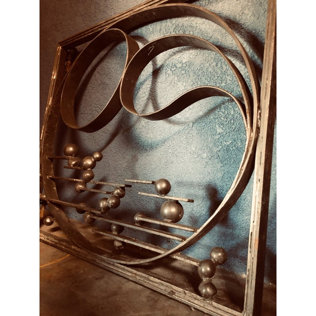 Antique Handcrafted Bronzed Iron Art Deco Panel For Sale - Image 4 of 10