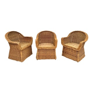 Vintage Mid Century Skirted Wicker Arm Chairs- 3 Pieces For Sale