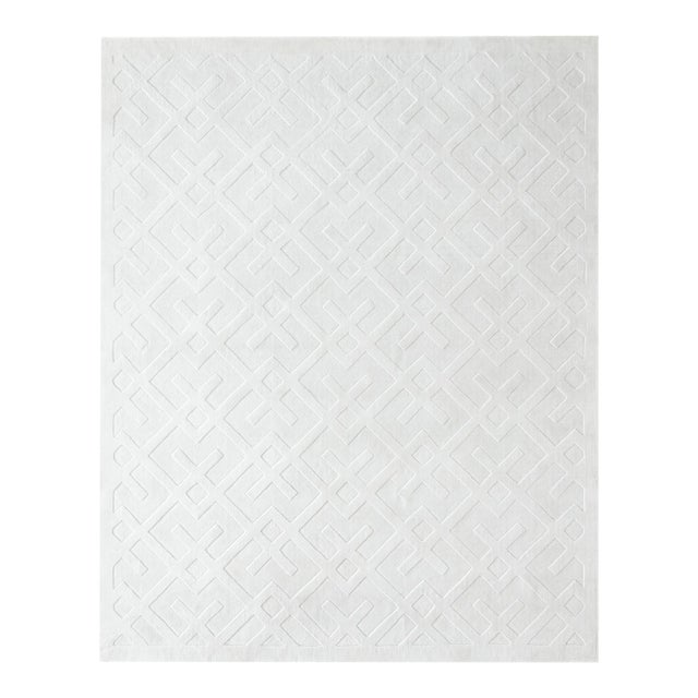 Arlo, Contemporary Modern Hand Loom Area Rug, White, 9 X 12 For Sale