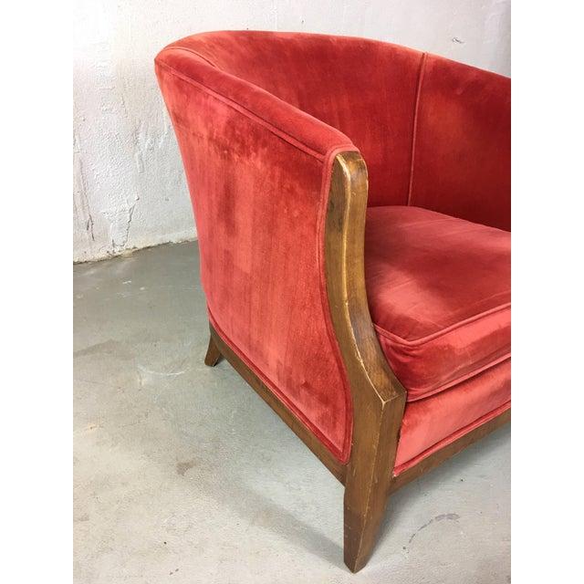 Lights Vintage Mid-Century Red Velvet Tub Chair For Sale - Image 7 of 11