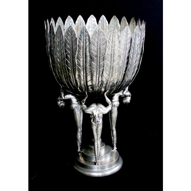A Stunningly Large Italian Art Deco Style Piero Figura Pewter Centerpiece Stamped 'Figura Piero Per Atena, Etain 95% For Sale - Image 9 of 9