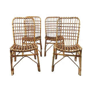 Rattan Dining Chairs, S/4 For Sale