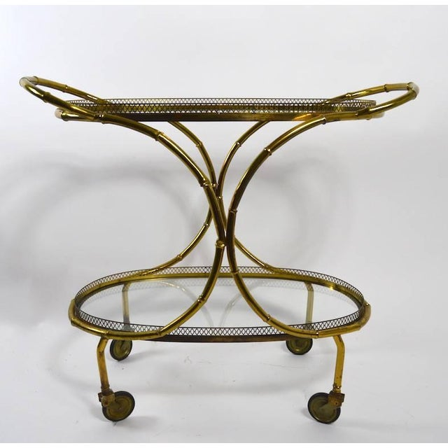 Faux Bamboo Serving Cart, Trolley in Brass and Glass For Sale In New York - Image 6 of 11