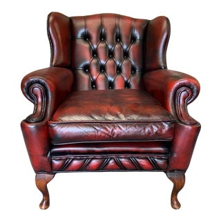 Vintage Mid-Century Scottish Leather Chesterfield Wingback Chair, Oxblood For Sale