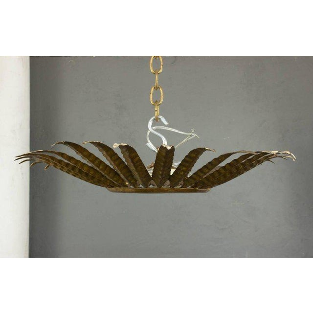 Spanish Gilt Metal Sunburst Ceiling Fixture With Leaf Decoration For Sale - Image 4 of 8