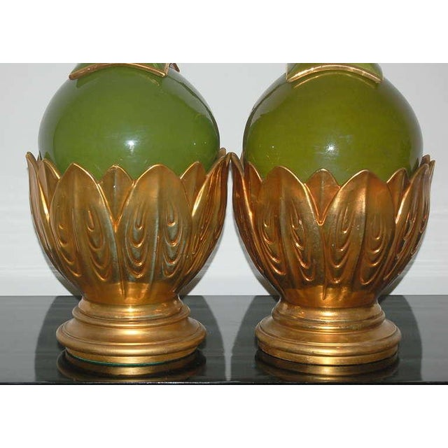 1960s Marbro Italian Ceramic Table Lamps Artichoke Green For Sale - Image 5 of 10