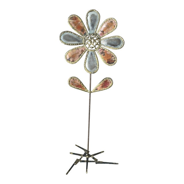 Mid 20th Century Metal Flower Sculpture For Sale