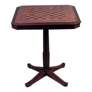 French Art Deco Square Mahogany And Amboyna Pedestal Base Flip Top Game Table For Sale