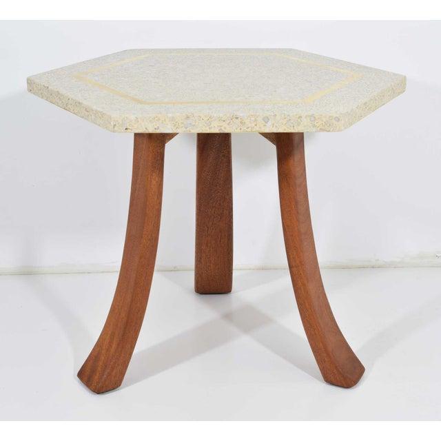 Metal Harvey Probber Hexagonal Terrazzo Side Table For Sale - Image 7 of 7