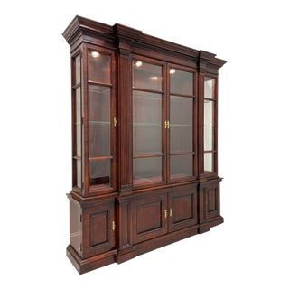 Century Mahogany Traditional Breakfront China Cabinet For Sale
