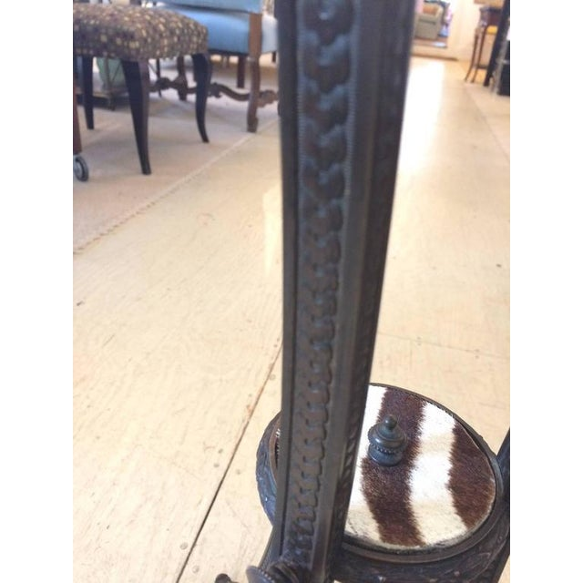 Antique French Bronze & Zebra Hide Gueridon Table - Image 3 of 8