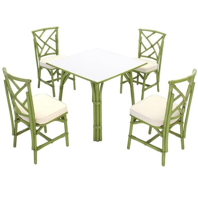 Square Game Table and Four Chairs Green Faux Bamboo Rattan For Sale - Image 11 of 11