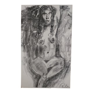 "Rita Shulak ""Nude Female"" Charcoal Sketch For Sale"