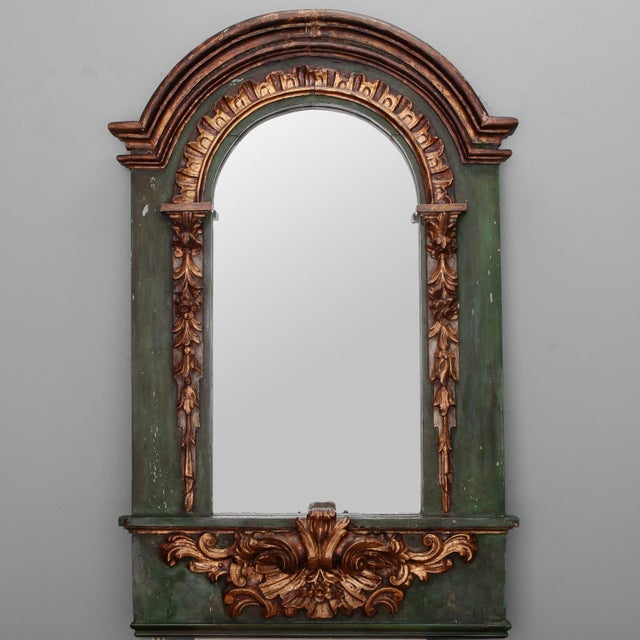 Green 19th Century French Painted Mirror With Carved and Gilded Detailing For Sale - Image 8 of 8