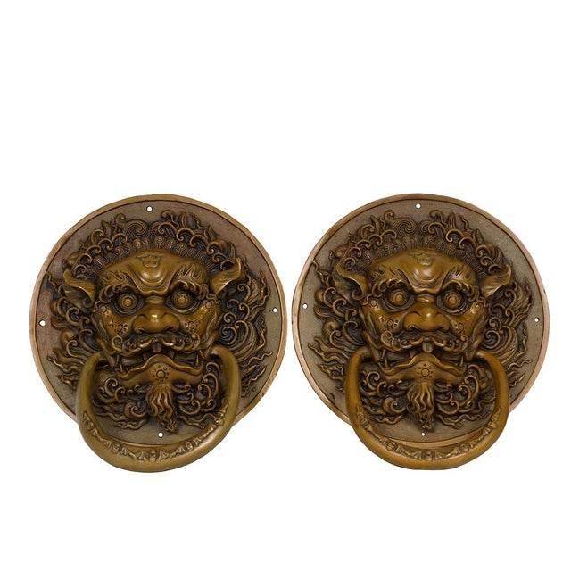 Metal Vintage Chinese Old Fashion Brass Foo Dog Door Knob/Bells - a Pair For Sale - Image 7 of 7